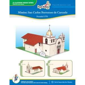 California Mission San Carlos 10 x 13 Paper Model