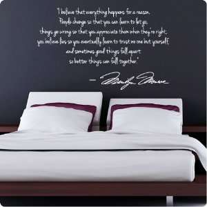 WHITE Marilyn Monroe Wall Decal Decor Quote I Believe things happen