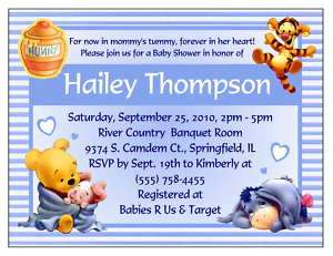 20 WINNIE THE POOH BABY SHOWER INVITATIONS   CUSTOM