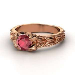 Rose and Thorn Ring, Round Ruby 14K Rose Gold Ring