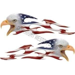 Tribal American Flag Eagle Flames   4.75 h x 17 w
