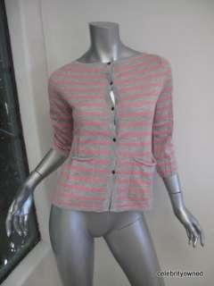 Demylee Pink/Gray Stripe 2 Pocket Button Down Cashmere Cardigan XS
