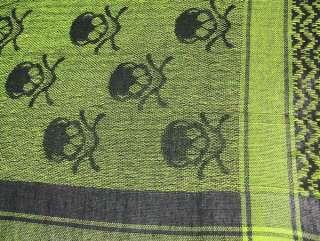 Black / Green Skull Print Arab Style Keffiyeh Scarf Color BLACK