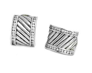 David Yurman Diamond & Sterling Silver 925 Ear Rings Earrings Cable