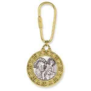 Gold & Silver tone Saint Christopher Key Fob/Mixed Metal