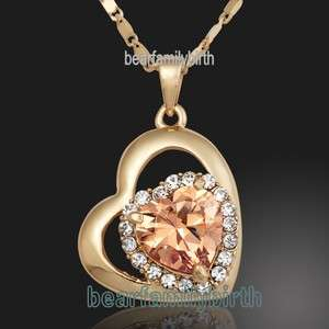 18K Yellow gold GP SWAROVSKI Crystal heart necklace 745