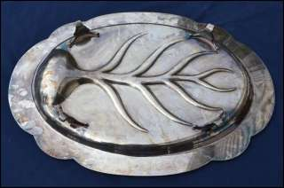 Large Wallace Silver Plate Gadroon Edge Footed Master Meat Platter