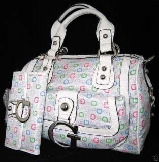 GUESS Primary Logo Bag Purse Satchel Wallet White Black