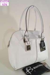 Makowsky Lincoln Large White Leather Satchel Handbag