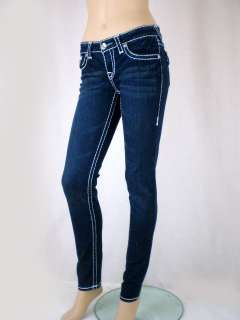 Women LA IDOL Dark Demin Skinny Jeans White Bold Stitching Flap Pocket