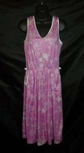 Vintage 70s Pink White Floral Pocket Summer Beach Pool Sun Dress M L