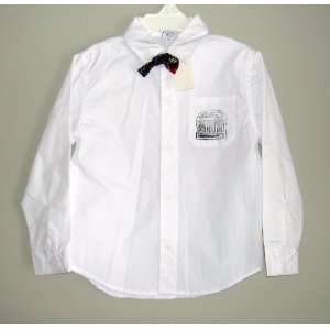 for Target Toddler Boys White Button Up Shirt & Plaid Bow Tie   2T
