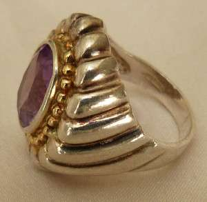 STERLING SILVER AMETHYST GOLD PLATE BEADED ORNATE RING
