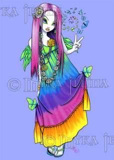 Rainbow Hippie Flower Child Peace Fairy OOAK ACEO Chloe