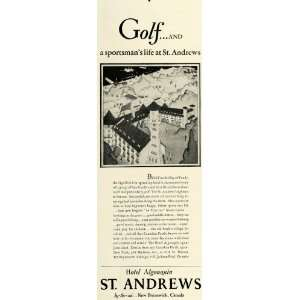 Hotel Algonquin Golf Resort   Original Print Ad: Home & Kitchen