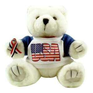 Patriotic   White Teddy Bear   Plush Toy USA Toys & Games