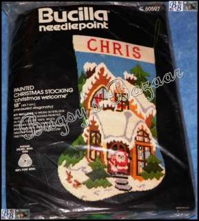 Vtg Bucilla CHRISTMAS WELCOME Stocking Needlepoint Kit   Santa & Mrs