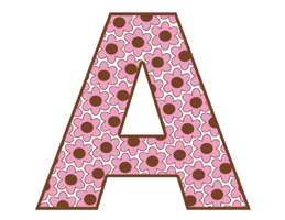 FLOWERS PINK BROWN ALPHABET LETTER NAME GIRL STICKERS