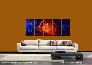 ORIGINAL abstract painting modern fine art stars space planets blue