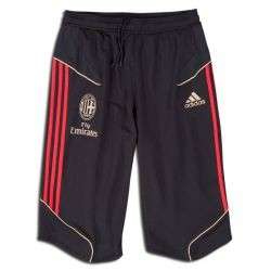 adidas AC Milan 2011 2012 3/4 Soccer Training Pants Brand New Black