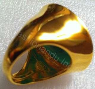 Kenneth Jay Lane polished gold/apple jade ring