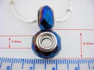 Promotion20pcs Glass Crystal Beads Fit Charm Bracelet;Blue Blink
