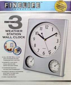 NEW WEATHER STATION WALL CLOCK, HYDROMETER, THERMOMETER