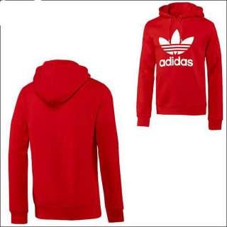 Adidas Originals Mens Trefoil Hoodie Pullover Sweatshirt Red