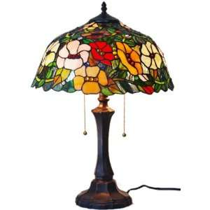 Amora Colorful Springtime Flowers Stained Glass Tiffany Style Table
