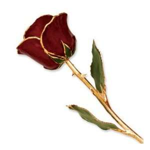 Long Stem Dipped 24K Gold Trim Burgundy Lacquered Genuine Rose w/ Gift