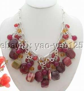 Amazing Carnelian&Agate&Crystal Necklace