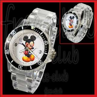 MICKEY MOUSE DIver Style Clear Acrylic Wrist Watch