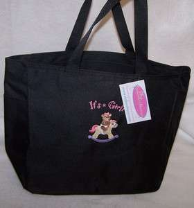 Its a Girl! Teddy Bear & Rocking Horse Diaper Tote Bag