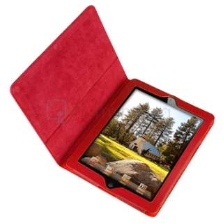 New Red Leather Case Smart Cover Pouch w/ Stand For iPad 2 2nd Gen