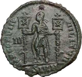 VETRANIO en el nombre de moneda romana antigua rara CHI RHO Cristo de