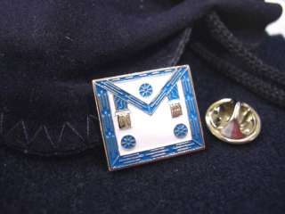 Masonic Lodge Master Mason Apron Lapel Pin and Pouch