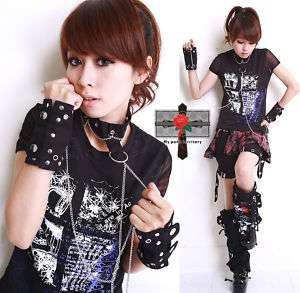 Visual Kei Rock SLAVE Goth Punk Cosplay Cuff Choker Set