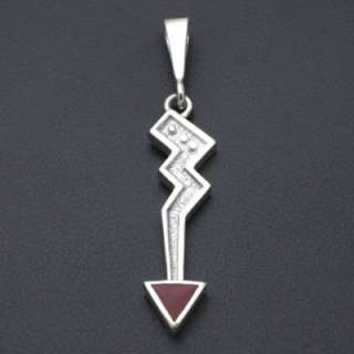 Ray Tracey One Stone Inlay Red Coral Arrow Pendant