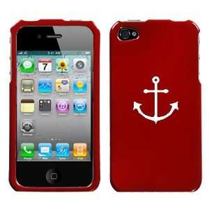 APPLE IPHONE 4 4G WHITE ANCHOR ON A RED HARD CASE COVER