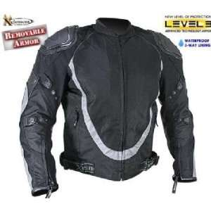 Xelement Mens Black and Silver Motorcycle Jacket with Breathable 3