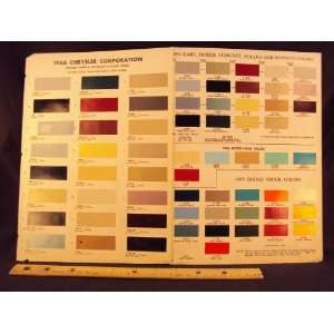 , & Valiant Paint Colors Chip Page Chrysler Corporation Books