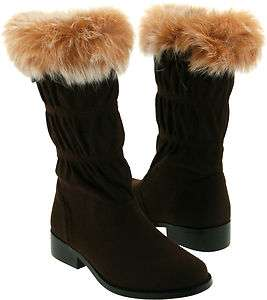 New LAmour F704 Girls Brown Fur Collar Boots