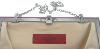 VALENTINO 100% Authentic Purple Satin Stone Clutch Bag