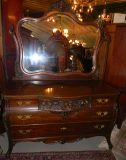ANTIQUE HORNER CARVED MAHOGANY BOMBE DRESSER W MIRROR