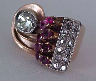 1930 40s Rose Gold 3/4 carat Mine Cut Diamond Ruby accent Estate