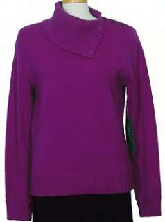 NWT RALPH LAUREN Madison Purple Wool Cashmere Sweater L