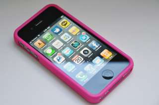 Hot Pink Hard Rubber Case for Verizon Apple iPhone 4