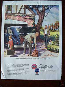 1946 Gulf Gas Gulfpride Motor Oil Underhill Golf Art Ad