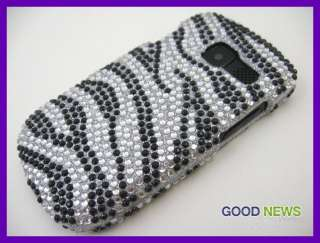 for AT&T Pantech Link 2   Silver Black Zebra Bling Crystal Hard Case