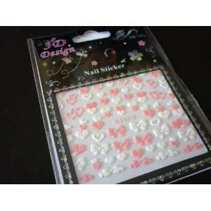 Cute PINK Bow and Hearts Nail Art Glitter Sticker Beauty